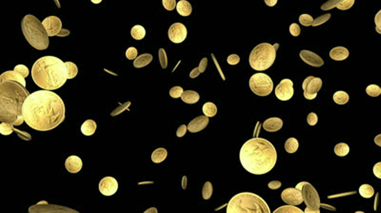 Coins flying through the air