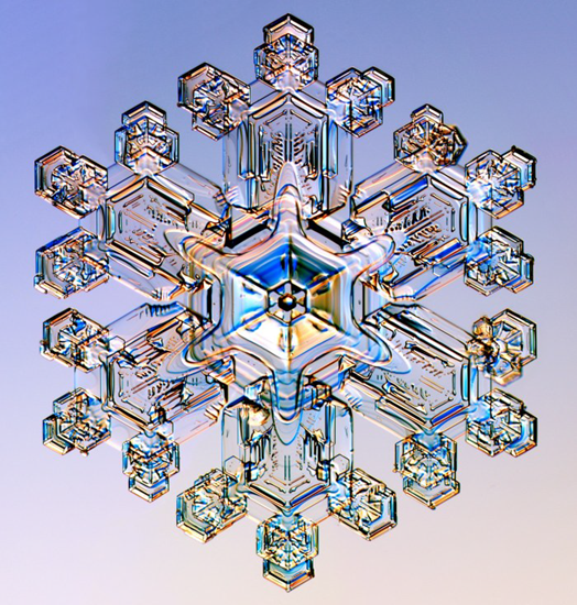 Highly magnified view of a real snow flake