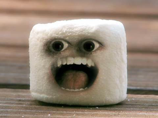 An angry marshmallow