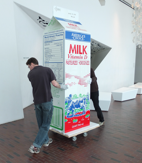 If you think this carton of milk is big, you should see the cow that produced the milk!