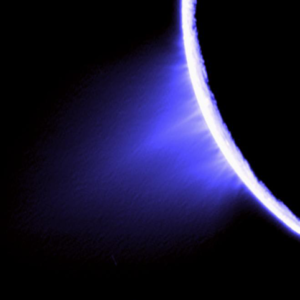 Bursts of water vapor shooting from the southern pole of Saturn's moon Enceladus