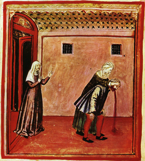 "This is a 14th century illustration of some guy vomiting.  The lady on the left seems to be happy about it so we figure she's saying something like, ""I TOLD you not to be eating cabbage with red beans!"""
