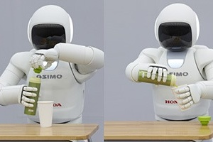 ASIMO opening a bottle and pouring a drink