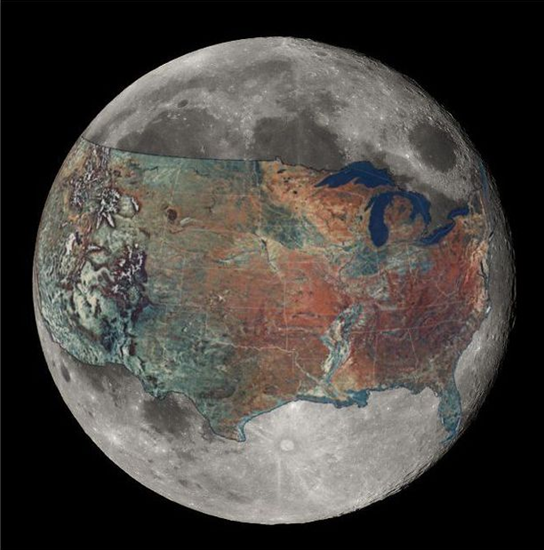 United States superimposed over the Moon