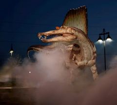 Here's what Spinosaurus would have looked like coming out of a scary mist and casting a curious glance at your house