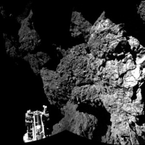 The first image to be released by Esa from the surface of the comet. It's a composite of two pictures..