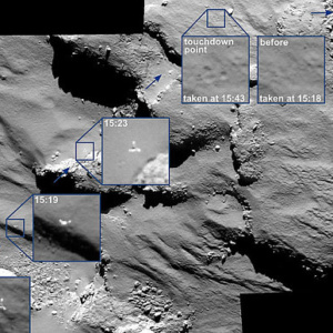 The journey of Rosettaís Philae lander as it approached and then rebounded from its first touchdown on Comet 67P/Churyumov Gerasimenko on Nov. 12, 2014.