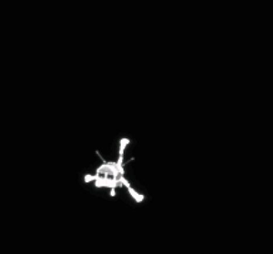 Philae, legs out and on its way to Comet 67P/C-G, as seen from Rosetta's OSIRIS camera