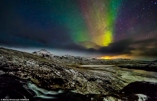 Maciej Winiarczyk photographed the Milky Way, Northern Lights, and an erupting volcano all in one photograph