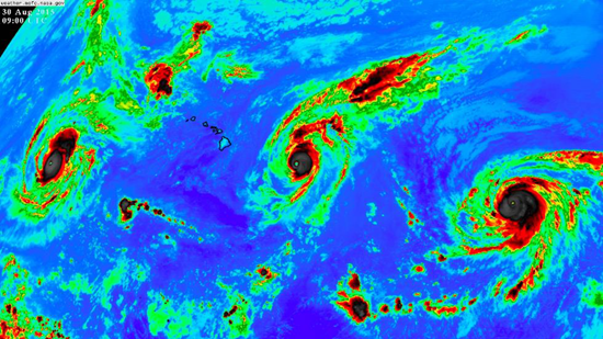 What a sight! Three Category 4 hurricanes pass through Pacific at the same time! (Very rare event)