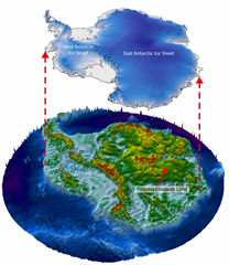 Map shows location of West Antarctic Ice Sheet, the East Antarctic Ice Sheet, and the location of Princess Elizabeth Land in relation to the two