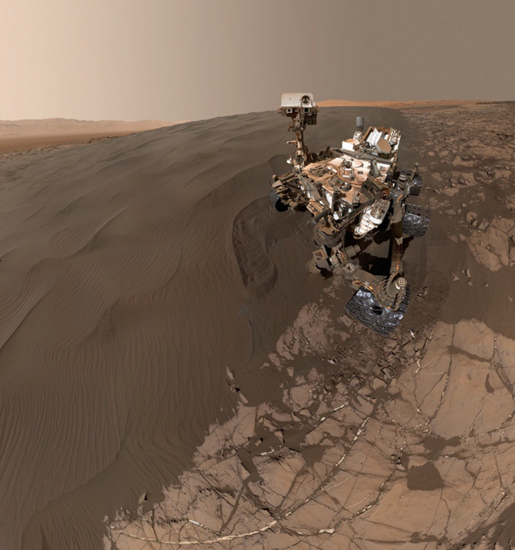 The Mars Curiosity rover happily whiling away its time playing in the sand