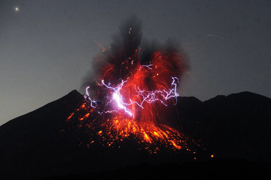 Dirty thunderstorm over erupting Mount Sakurajima
