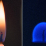 A blue flame burning in space