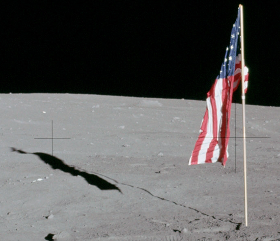 Apollo 12 flag - pivot latched failed so flag hung limp