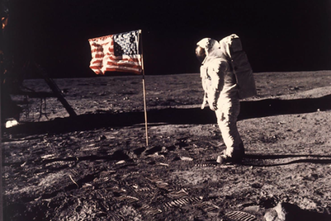 Buzz Aldrin salutes first flag erected on the moon