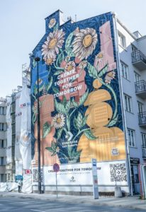 Photocatalytic paint mural in Warsaw close 2