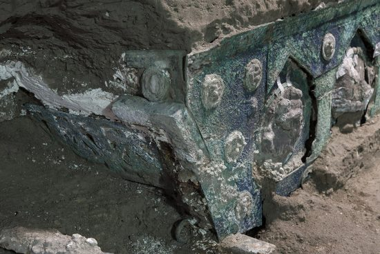 Roman chariot found near the ancient Roman city of Pompeii - chariot carriage corner