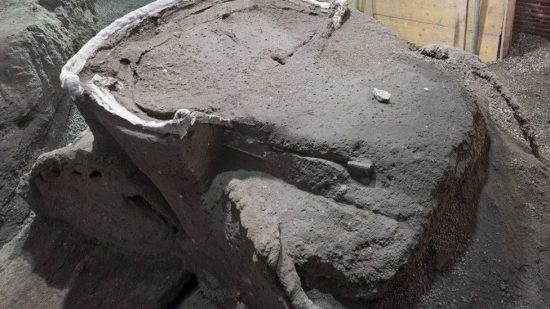 Roman chariot found near the ancient Roman city of Pompeii from top